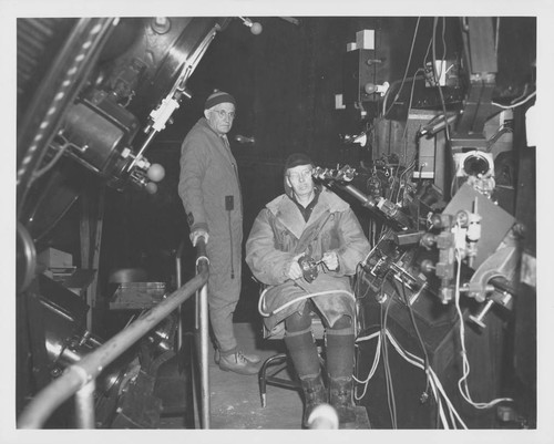 Roscoe Sanford and Tom Nelson at the coude focus of the 100-inch telescope, Mount Wilson Observatory