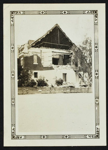 John Muir School, 1455 Pacific Avenue, rear of school, damage from the 1933 earthquake