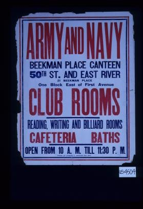 Army and Navy ... Club rooms. Reading, writing and billiard rooms