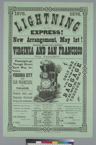 Lighting express!... through trains daily between Virginia [City, Nevada] and San Francisco via Vallejo [California]