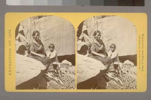 Navajo Indian Squaw, and Child, at their home, in Canon de Chelle.--Photographer: T. H. O'Sullivan--Photographer's number: 27--Photographer's series: Expedition of 1873