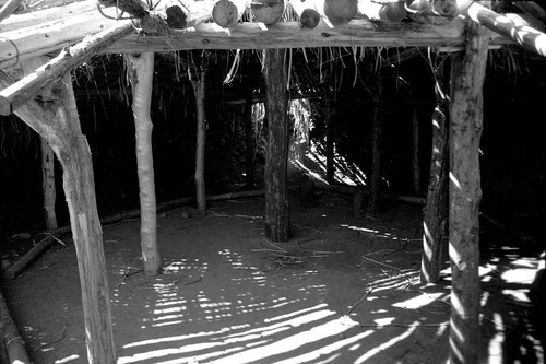Interior view of round house at Miwok Indian Village--Kule Loklo