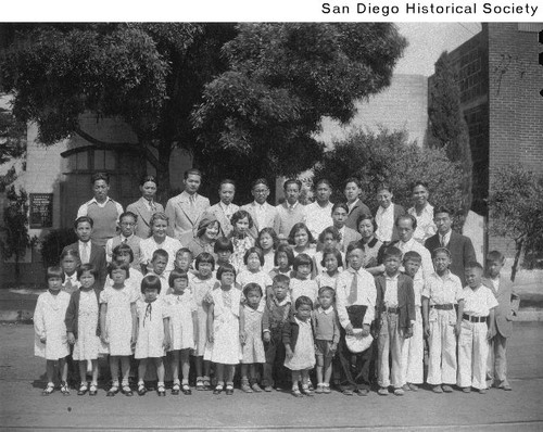 Members of the Congregational Chinese Mission in front of the Mission