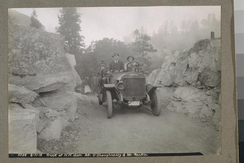 Truck at H.H. Dam, Mr. O'Shaughnessy and Mr. Ronkin, 8-11-18 [August 11, 1918]