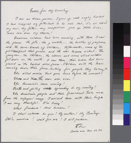 """Tears for my country"" handwritten letter"