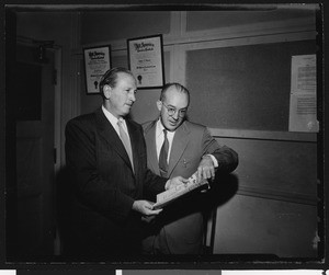 Los Angeles Times sports editor Braven Dyer with University of Southern California Athletic News Director Tom Lawless, USC campus, 1951