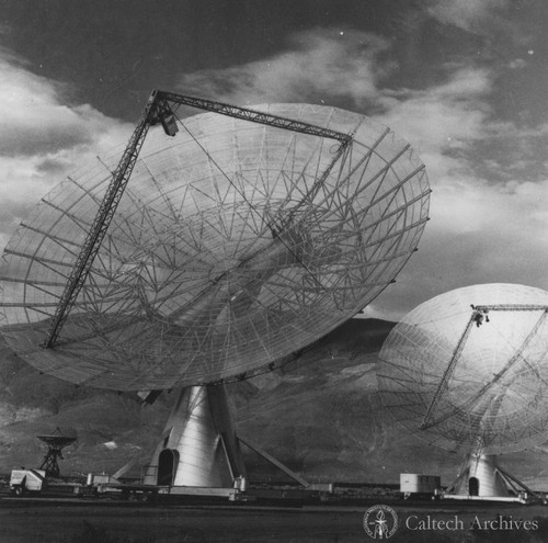 Two 90-foot radio telescopes at Owens Valley Radio Observatory
