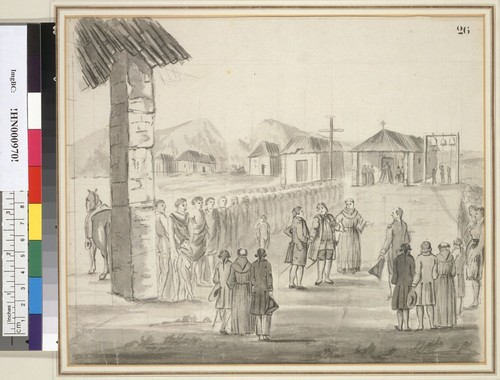 [The reception of Jean-Francois de la Perouse at Mission Carmel in 1786, California]