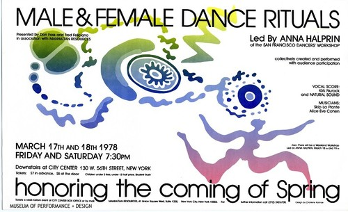 "Poster for workshop ""Male and Female Dance Rituals honoring the coming of spring"""