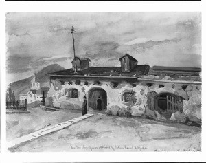 Painting depicting the priests' house of the Mission San Luis Obispo de Tolosa, March 28, 1889