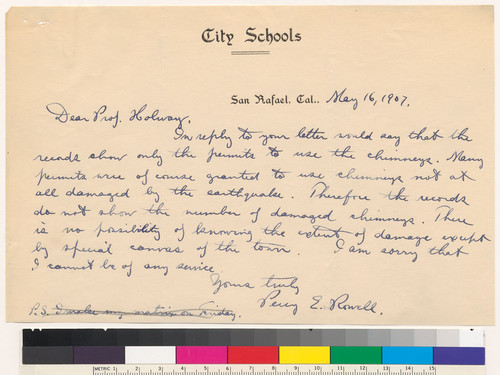 Letter to R.S. Holway from Percy E. Rowell: May 16, 1907