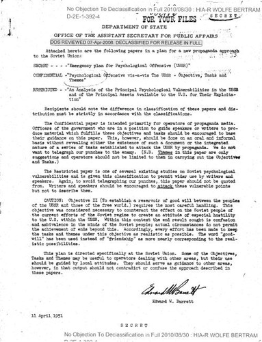 Edward W. Barrett cover letter, with attached papers in a plan for a new propaganda approach to the Soviet Union