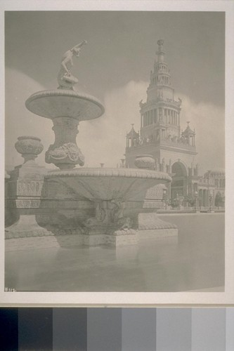 "H112. [""The Mermaid"" fountain (Arthur Putnam, sculptor), South Garden. Tower of Jewels (Thomas Hastings, architect) in background.]"