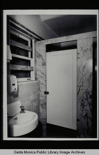 First floor bathroom looking southwest, sinks and stalls, Santa Monica West Health Center, 1525 Euclid Street, built 1928
