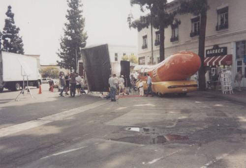 calisphere oscar mayer commercial film crew in plaza square orange
