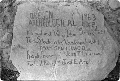 Oregon Archaeological Expedition sign in the Sierra de San Francisco