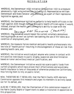 Marin County AIDS Advisory Commission Proposition 102 resolution