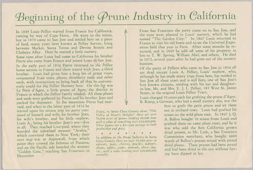 California Prune Brochure, 1940
