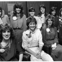 View of the ten candidates vying for the 1984 Camellia Festival Queen title