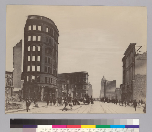 Donahue Building at left, view down Market from Taylor