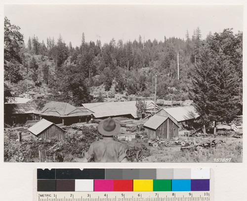 Stonyford Quadrangle. Prather Mill with cutover land in background. Residual stand mostly Yellow Pine, Douglas fir, with some Sugar Pine. Donkey engines and some trucks used for yarding in woods