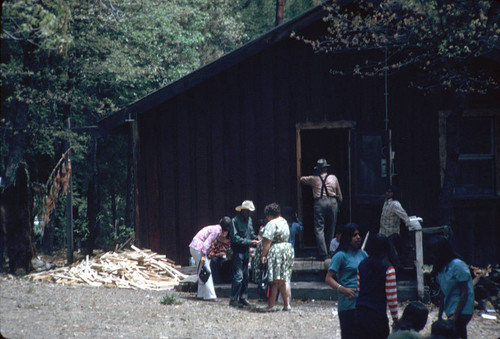 Group gathered around house at the Greenville Bear Dance--1972