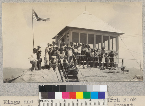 Kings and Tulare 4-H clubs at Buck Rock Lookout Station, Sequoia National Forest. July, 1930