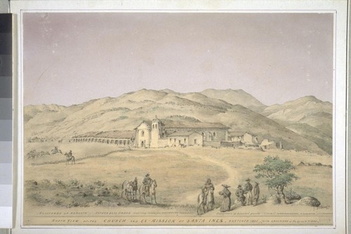 North view of the church and Ex-Mission of Santa Ines, (with groupings of the olden times). 'Alistando la remonta.' Father Blas Ordaz ordering relais, the mayordomo reporting; departure of honored guests, 1833/6, Fernando Deppe, A. Robinson and J. Thompson. (cf. Vischer Pictorial p.109, Vischer Missions no. 9)