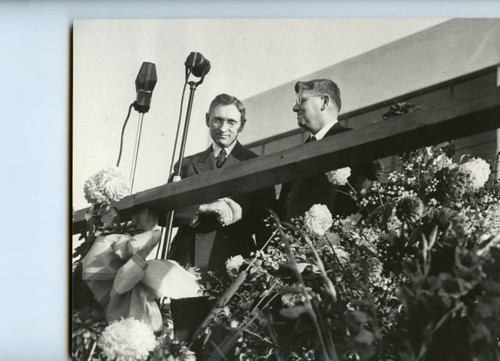Dedication Ceremony--L to R: Mr. Pepperdine, Batsell Baxter, first President of the College