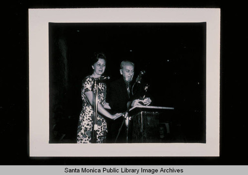 Stairway of the Stars Award recipient, Stanton MacDonald-Wright, with Carolyn Bartlett Farnham at the Santa Monica Civic Auditorium