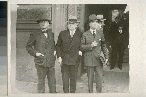 Ed Nockels, Chicago Labor executive. Atty. Frank P. Walsh. Atty. Finerty of Washington. Mooney Case. S.F. Apr. 26, 1933