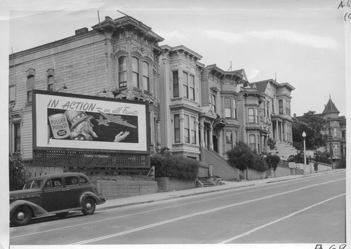 While American troops were going in action on far-flung fronts, residents of Japanese ancestry were being evacuated from this neighborhood on Post Street. Evacuees will be housed in War Relocation Authority centers for duration. Photographer: Lange, Dorothea San Francisco, California