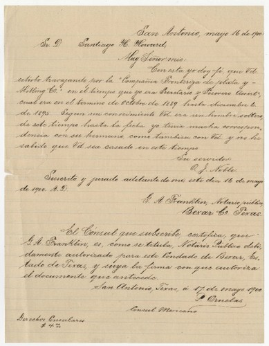 Letter from O. J. Noble to James Howard
