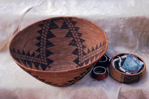 Maidu baskets--Wings and rattlesnake design (Also clamshell disc bead necklace and abalone shell pendant)