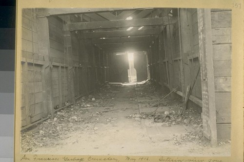 San Francisco Garbage Crematory, May 1906. Interior view of one gallery, whence garbage is shovelled into furnace. Plant not in operation in May 1906