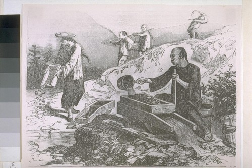 Chinese, Gold Mining in California. [Reproduced from unidentified print source.]