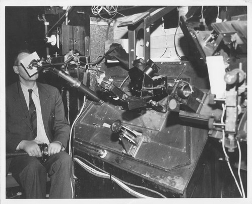 Paul W. Merrill at the Coude spectrograph, Mount Wilson Observatory