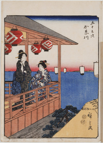 Women on balcony of a teahouse in Kanagawa, number 4 from the Fifty-three Stations (Jimbutsu Tokaido)