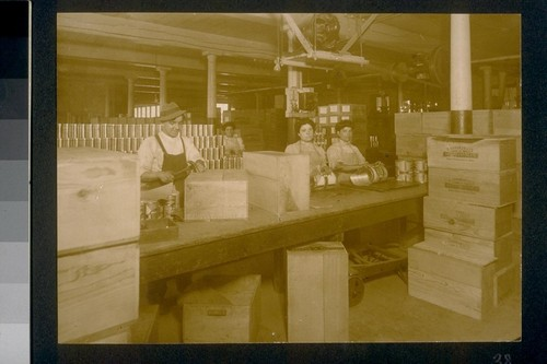 [Factory workers in packaging area.]