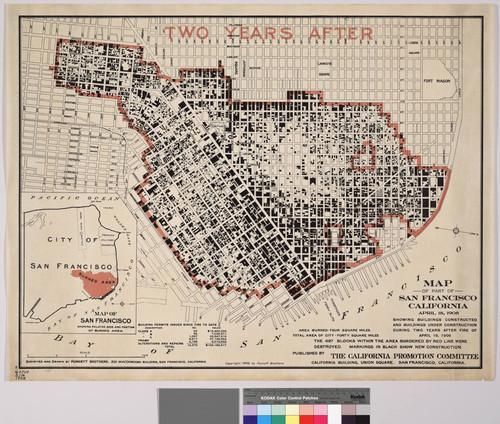Calisphere Map of part of San Francisco California April 18 1908