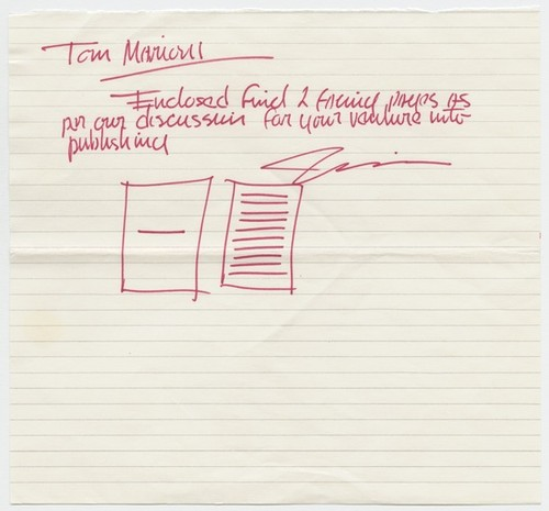 Letter to Tom Marioni from Robert Irwin (Vision)