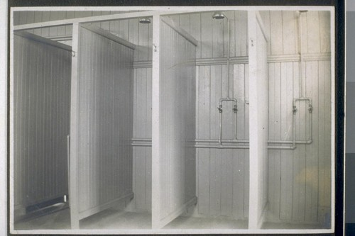 Jarfey[?] ranch bath house, [Fresno. Shower stalls.]