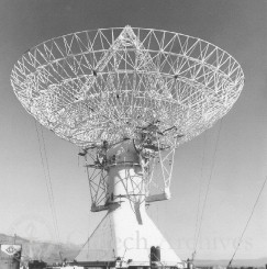 View of 130-foot radio telescope with dish in place