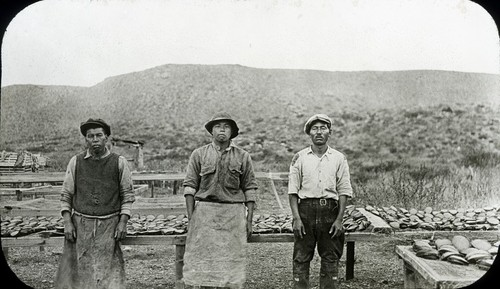 Three Japanese fishermen at the abalone camp #1 with drying racks in background, located south of Ensenada Bay