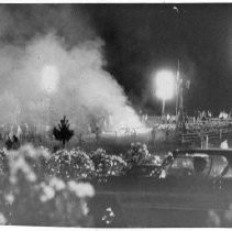 View of the riots held at the California State Fair grounds in 1971