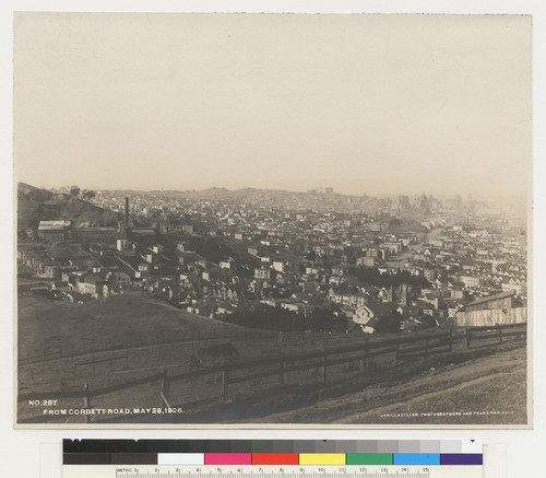 From Corbett Road, May 28, 1906. [View down Market Street toward downtown from lower slopes of Twin Peaks.]