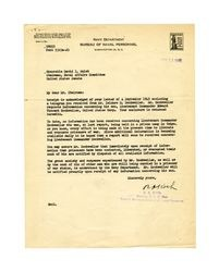 Letter from Navy Department Bureau of Naval Personnel to David I. Walsh, September 13, 1945