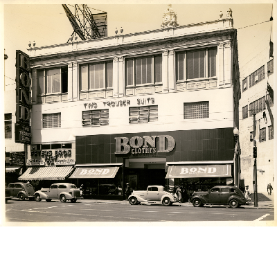Bond Clothes, Inc. building, west side of Broadway between 14th and 15th Streets in downtown Oakland, California