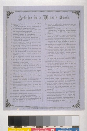 Articles in a Miner's Creed