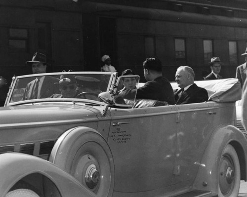 Mayor Bowron and Madame Chiang Kai-Shek in car